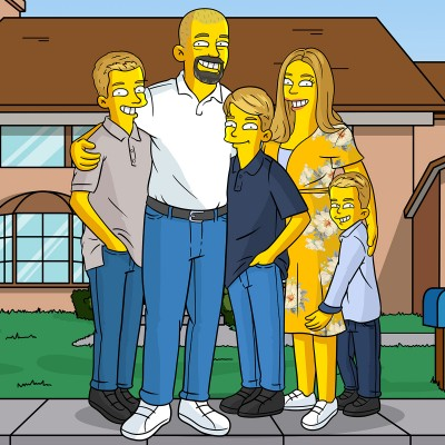 Mom, Dad and their three sons turned into Simpsons characters.