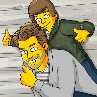 Dad and son as Simpsons characters.