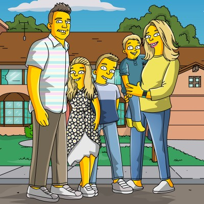 Mom, Dad and their two sons & daughter turned into a Simpsons character.