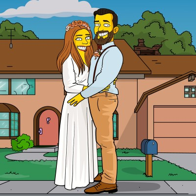 A bride and groom as Simpsons characters standing in front of Simpsons house.
