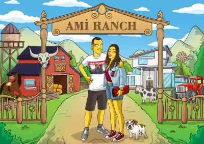 A man, woman and dog turned into Simpsons characters in front of a custom home.