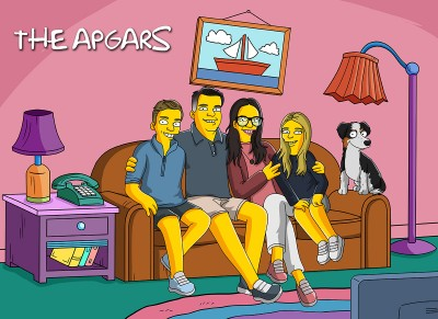 Mom, Dad and their two daughters & son turned into a Simpsons character.