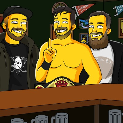 Three men as Simpsons characters in Moe's Tavern, one in boxing belt