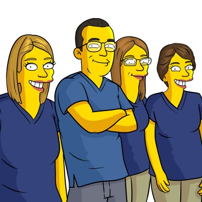Three dental technicians and a dentist turned into Simpsons characters