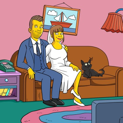A man in a suit and a woman in a bridal gown turned into Simpsons characters