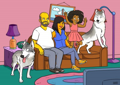 A family and their two dogs as Simpsons-like characters.