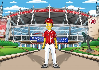 A boy in front of his favorite baseball stadium in Simpsons-style