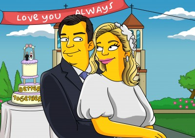 An anniversary couple as Simpsons characters