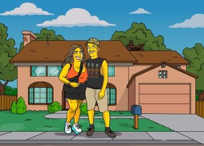A Simpsons-like couple from Santa Barbara